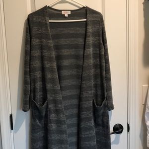 LuLaRoe Grey striped Sarah long sweater - Medium
